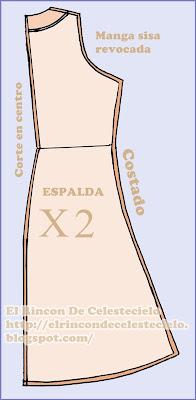 Vista de patrón espalda con falda ecualizada