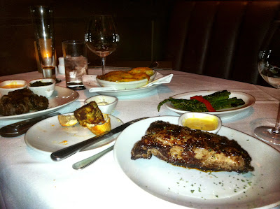 flemings, favorite, dinner, steak, wine, table, cloth