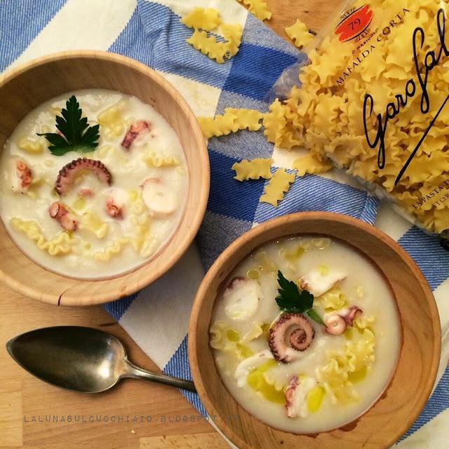 minestra di topinambur con pasta e polipo