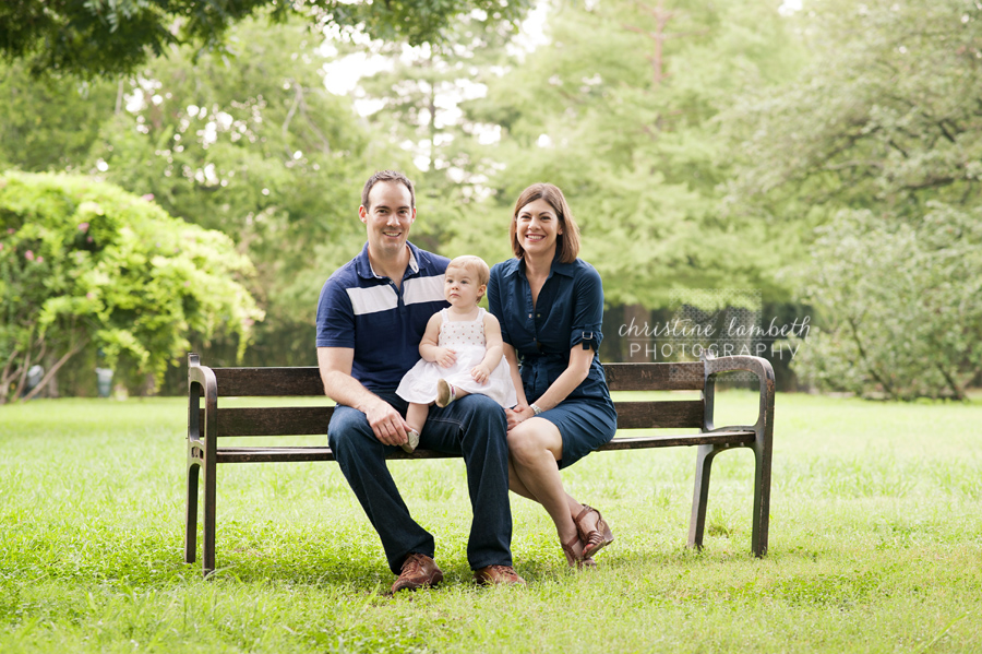 Family photo on bench with daughter
