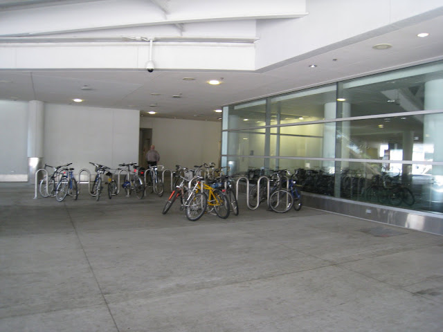 """<strong>Bike Parking at Portland Airport</strong><br />(c) BikeMontclair 