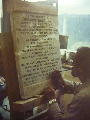 Restoring the inscription of the Wale Memorial in Rattee and Kett's workshop.