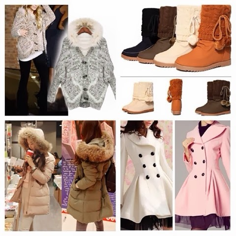 Complete set of jackets, boots, scarf and outfits for fall
