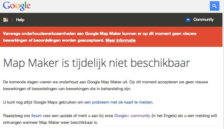 Map Maker tijdelijk niet beschikbaar