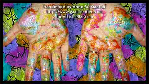 Messy Hands after playing with Luminarte Silks on Black