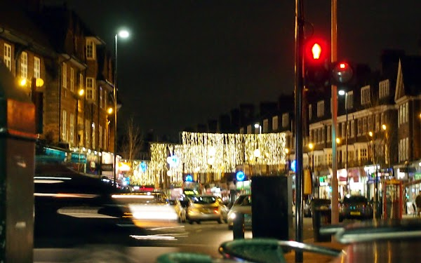Golders Green by night with xmas lights