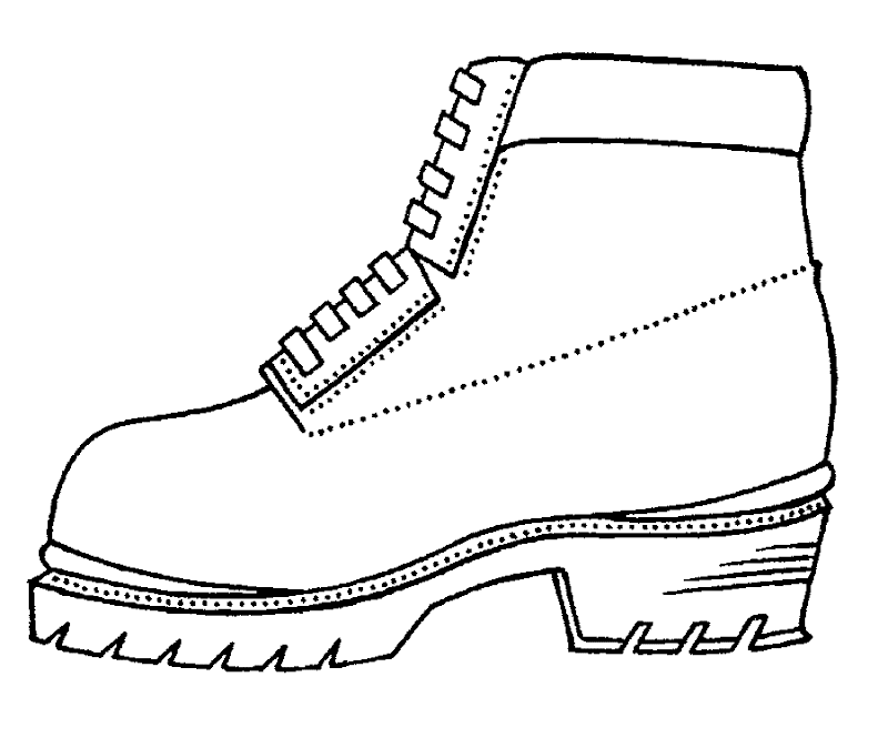 Heavy work shoes, free coloring pages