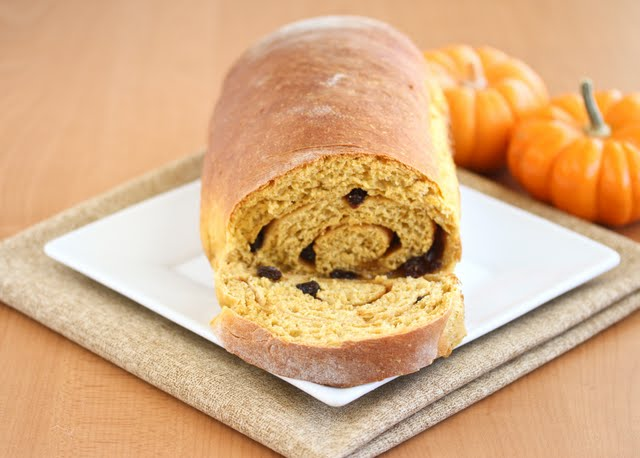 photo of a loaf of Pumpkin Cinnamon Swirl Bread