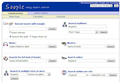Screen shot of Soople, which shows many of the different types of searches Google supports