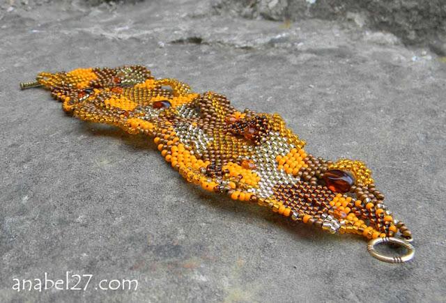 купить оранжевый браслет из бисера украина бижутерия авторская