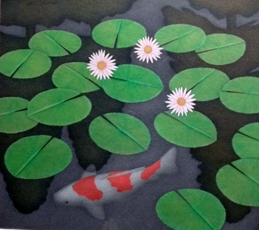 """""""Waterlillies with Koi"""" by Artist Steve Femmer.Colored pencil drawing. $780.00"""