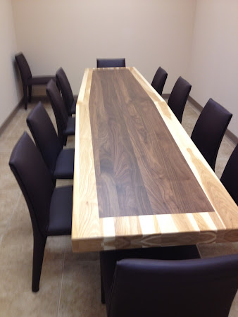 "130"" x 30"" Turin Table with Custom Full Border, in Natural Walnut and Natural Hickory"