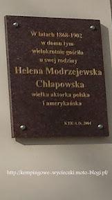 Tablica umieszczona na pałacu w Kopaszenie potwierdzająca pobyt aktorki w Wielkopolsce