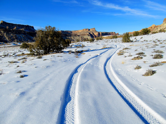 Following Jeep tracks in the snow