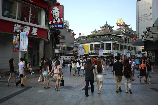 KFC and China's first McDonald's at the Dongmen shopping area in Shenzhen