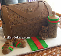 Gucci Diaper bag custom creative baby shower cake design with shoes, teddy bear and bottle