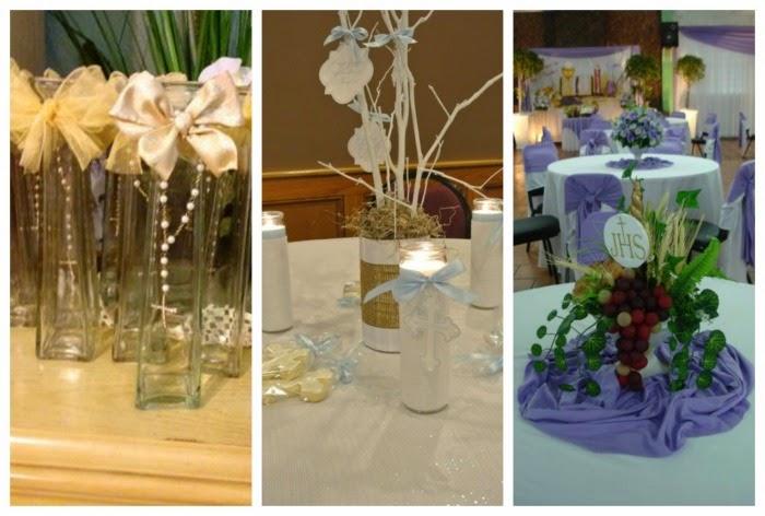 decoracion primera comunion centros de mesa