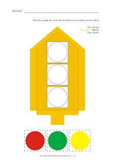 Lámina de Análisis. Dibujo del semáforo para recortar las luces que se encuentran en la parte de abajo y pegar en el orden que se indica