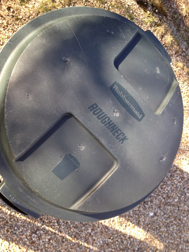 Trash barrel compost bin cover with holes