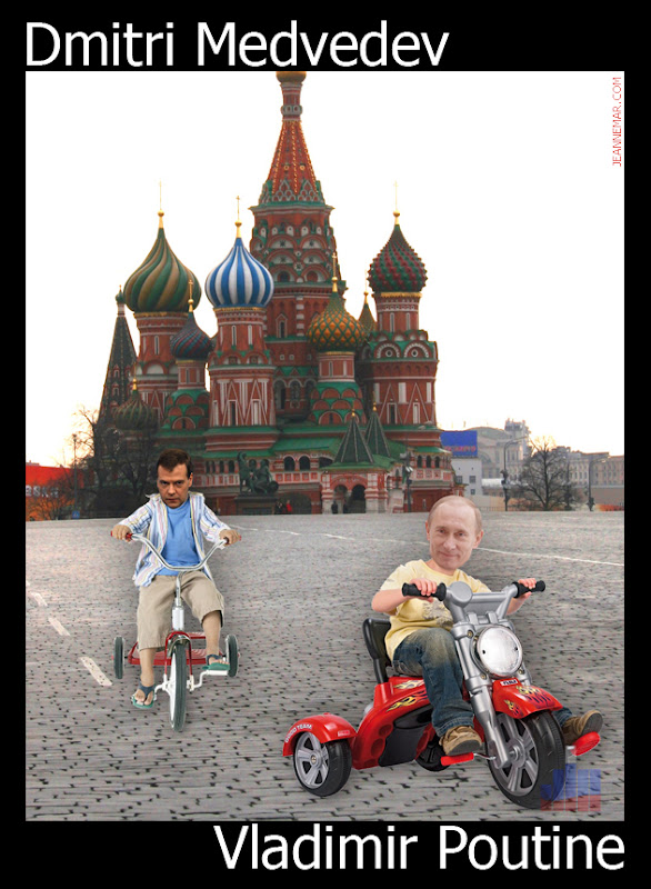 Dmitri Medvedev contre Vladimir Poutine, en tricycle...