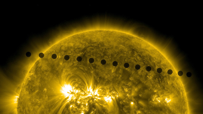 SDO's Ultra-high Definition View of 2012 Venus Transit -- Path Sequence. Credit: NASA/SDO, AIA