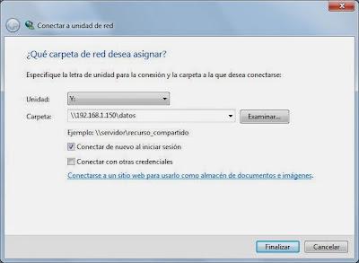 Conectar unidad de red de servidor de ficheros CIFS en equipo Windows 7