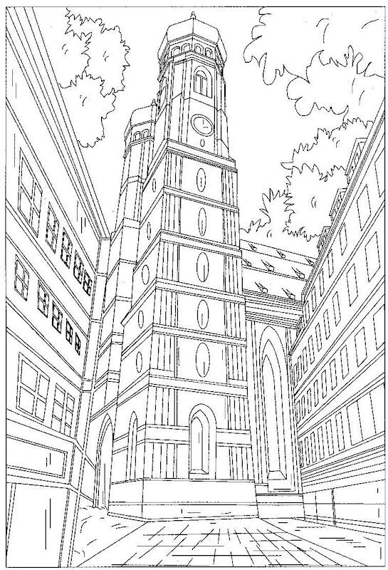 Pinto Dibujos: Torre con reloj para colorear