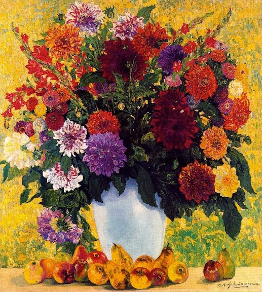 Hermen Anglada-Camarasa - Flowers and fruits. White Vase