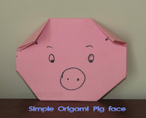 Kid friendly Origami Pig face