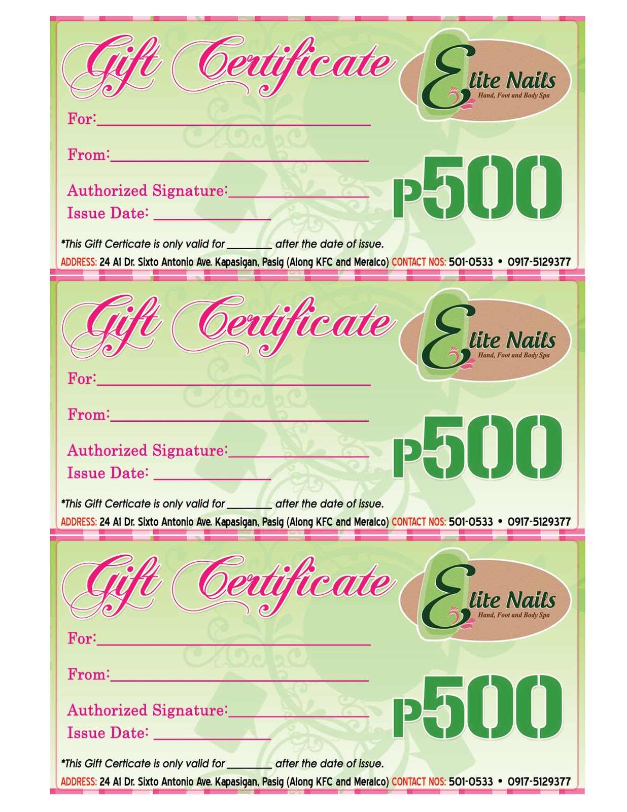 Nail Gift Certificate Template Gift certificates by elite