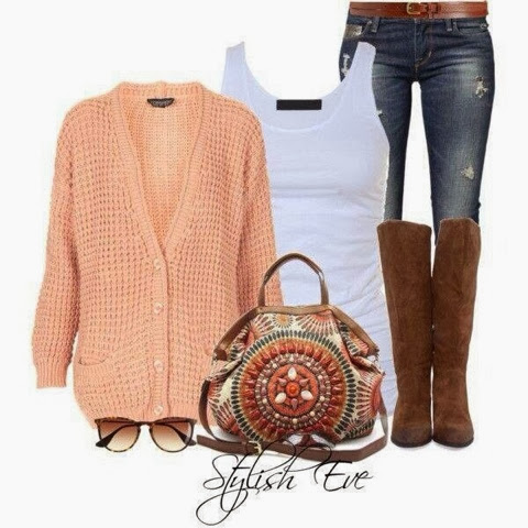 Blouse, jeans, cardigan, handbag and long boots for fall