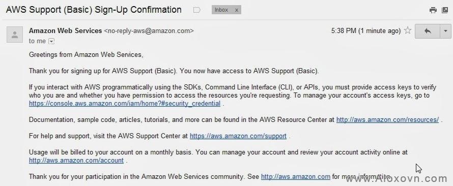 Email thông báo đăng ký thành công Email Amazon SES