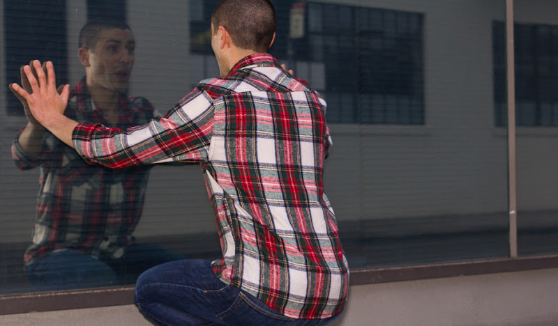 Red Plaid Flannel Window Reflection