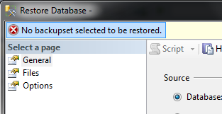 No backup selected to be restored