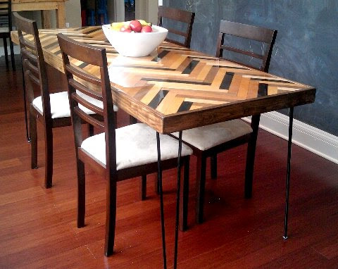 herringbone, chevron, arrows dining table
