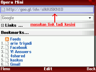 address bar opera mini
