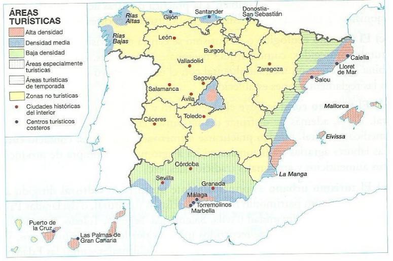 Geoperspectivas pr ctico mapa de distribuci n del for Ciudades mas turisticas de espana