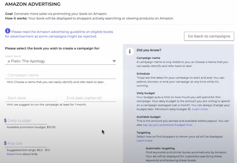 PublishDrive book promotion Amazon advertising tool