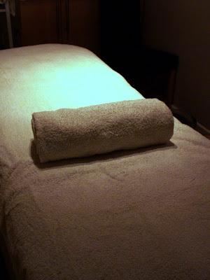Massage treatment room in London