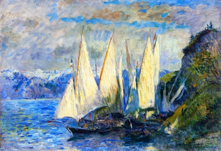 Albert Lebourg - Boats with Large Sails on the Lac Léman at Meillerie in Haute-Savoie