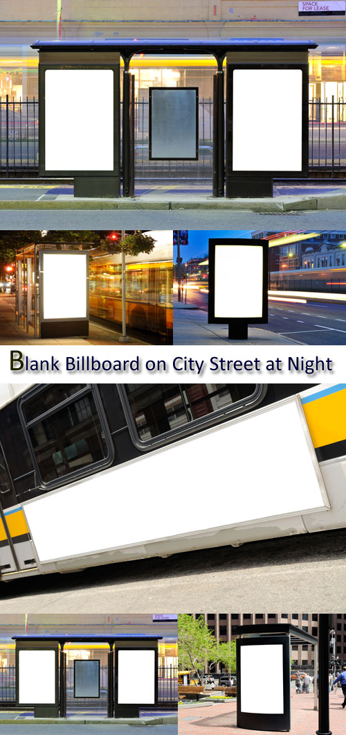 Stock Photo: Blank Billboard on City Street at Night