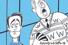 "Ken Fallin's ""How to Succeed"" portrait: John Larroquette and Daniel Radcliffe"