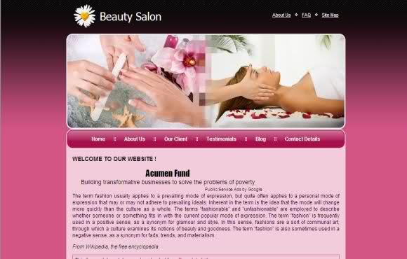 Free Beauty Salon Business Website Template