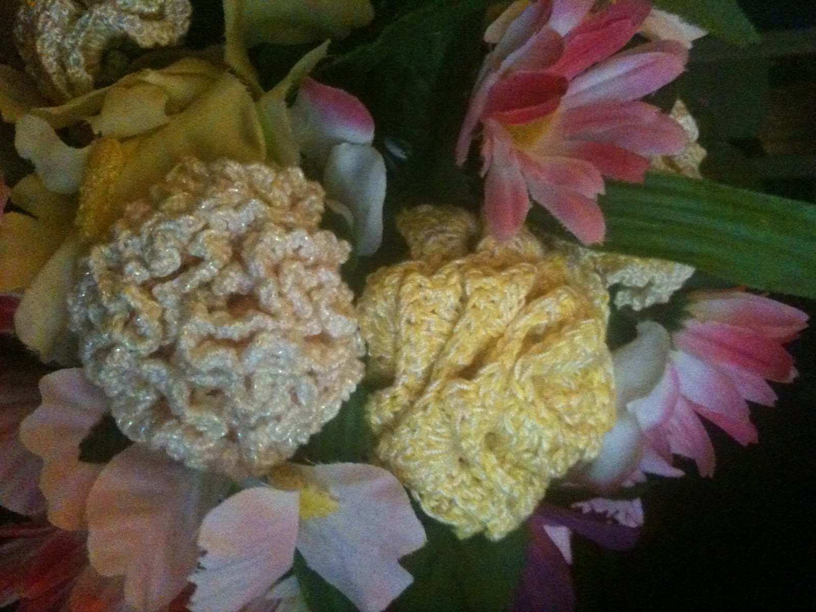 A wedding bouquet with crochet flowers dkb crochet works unique i have since lost some of the patterns but still have a few put away somewhere i am going to have to dig them out izmirmasajfo