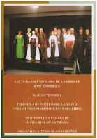 Foto del cartel de la Lectura representada de la obra de José Zorrilla: Don Juan Tenorio
