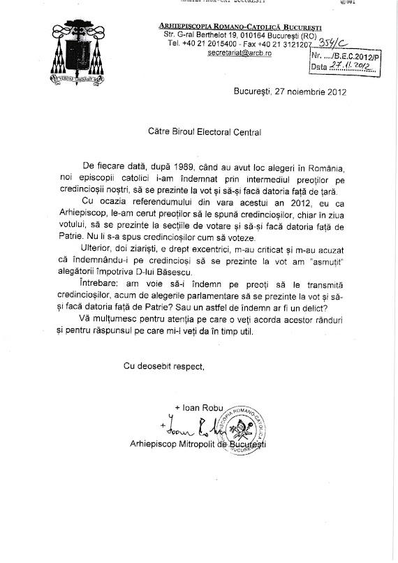 Adresa arhiepiscopiei Romano Catolice Bucureşti privind îndemnul la vot