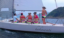 J/80 women's sailing team in Hong Kong Harbour- Hebe Haven YC