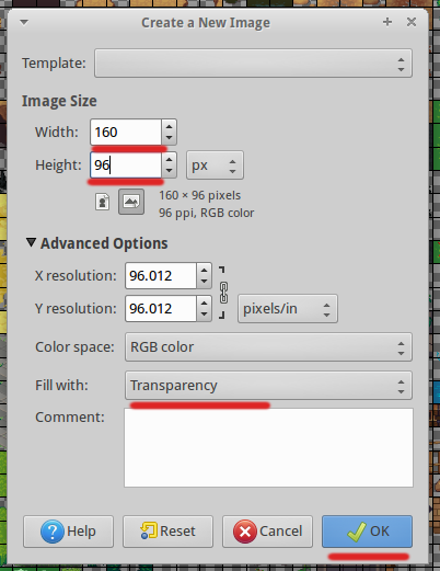 Kibo world: Create custom tileset in Gimp