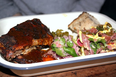 St Louis ribs and ham hock salad for lunch at Pitt Cue restaurant in London