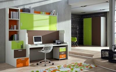Dormitorio juvenil e infantil con literas abatibles y mesa for Habitaciones juveniles funcionales